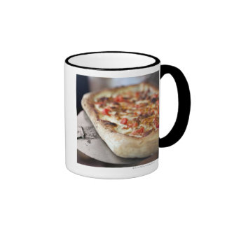 Pizza with tomatoes, garlic and meat substitute coffee mug