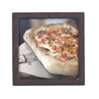 Pizza with tomatoes, garlic and meat substitute premium jewelry box