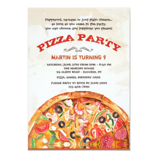 Pizza With Toppings Invitation