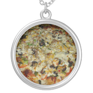 Pizza with white sauce round pendant necklace