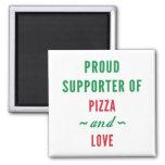 Pizza y amor imán cuadrado