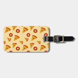 Pizza y anillos de espuma etiqueta para maleta