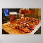 Pizza y cerveza poster