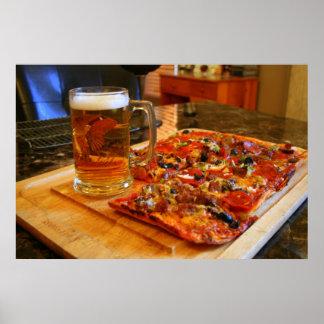 Pizza y cerveza póster