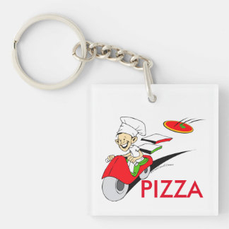 Pizzaiolo and Pizza Keychain