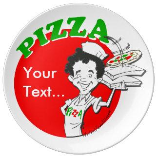 Pizzaiolo and Pizza Porcelain Plate
