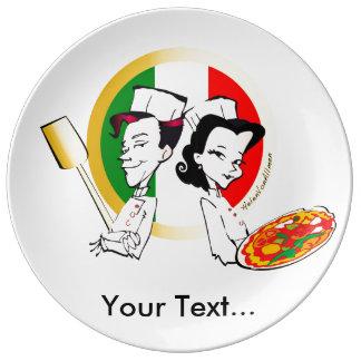 Pizzaiolo and Pizza Porcelain Plates