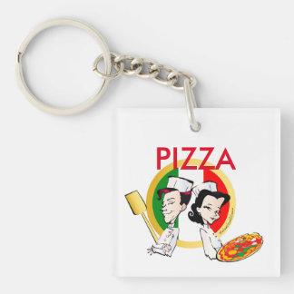 Pizzaiolo y pizza llavero cuadrado acrílico a doble cara
