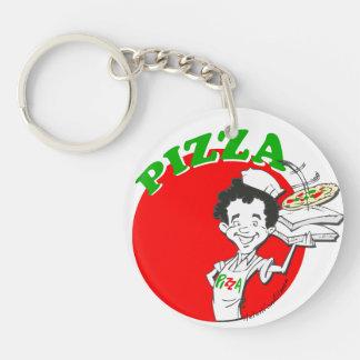 Pizzaiolo y pizza llavero redondo acrílico a doble cara