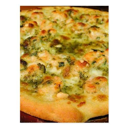 Pizzas Food Cheeses Shrimp Pesto Postcard