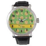 Pizzas verdes claras conocidas personalizadas reloj
