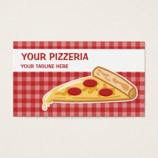 Pizzería de la rebanada de la pizza del dibujo tarjeta de negocios