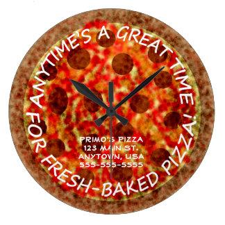 Pizzeria Pepperoni Pizza Custom Wall Clock w Name