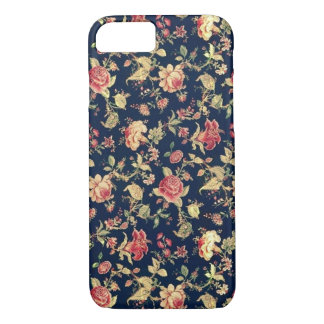 PJ navy and pink retro rose . iPhone 7 Case