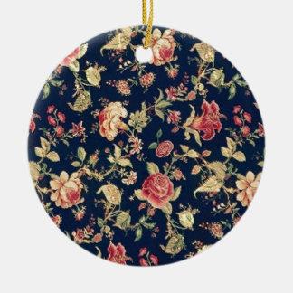 PJ navy and pink retro rose print. Ceramic Ornament