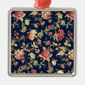 PJ navy and pink retro rose print. Metal Ornament