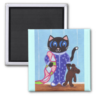 PJ Pajama Teddy Bear Kitty Cat magnet