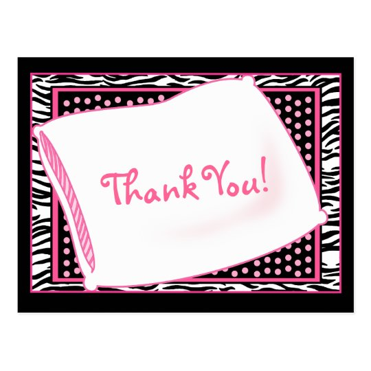 PJ Party Thank You in Pinks Postcard