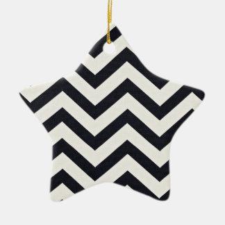 PJ's Chevron. Black and white pattern. Ceramic Ornament