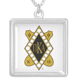 PKA Gold Diamond Square Pendant Necklace