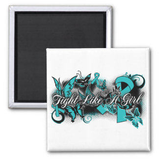 PKD  Fight Like A Girl Grunge Butterfly 2 Inch Square Magnet