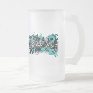 PKD  Fight Like A Girl Grunge Butterfly 16 Oz Frosted Glass Beer Mug