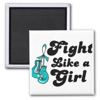 PKD Fight Like A Girl Motto 2 Inch Square Magnet