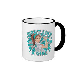 PKD Modern Rosie The Riveter Fight Like a Girl Ringer Coffee Mug