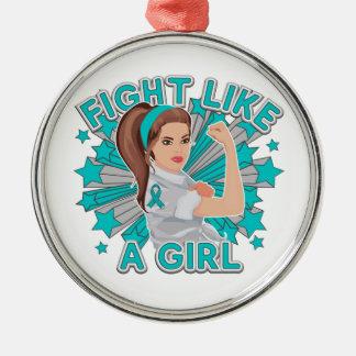 PKD Modern Rosie The Riveter Fight Like a Girl Round Metal Christmas Ornament