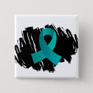 PKD Teal Ribbon With Scribble Pinback Button