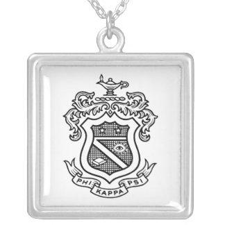 PKP Crest Black Square Pendant Necklace