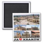 PL - Poland - Kraków - I Love - Collage Mosaic 2 Inch Square Magnet