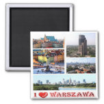 PL - Poland - Warsaw - I Love - Collage Mosaic 2 Inch Square Magnet
