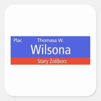 Plac Thomasa W. Wilsona, Varsovia, Sig polaco de Calcomania Cuadradas Personalizada