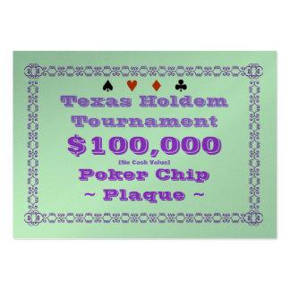 Placa $100k (100ct) de la ficha de póker de Tejas Tarjetas De Visita Grandes