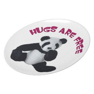 """Placa 10"""" del abrazo de la panda plato para fiesta"""