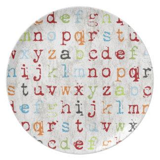"""Placa 10"""" del alfabeto melamina plato de cena"""