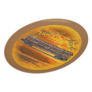 """Placa 10"""" del paseo de la puesta del sol plato de cena"""