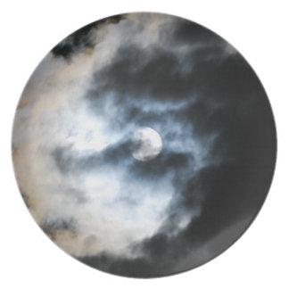 Placa 2 de la luna plato para fiesta