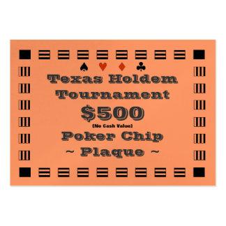 Placa $500 (100ct) de la ficha de póker de Tejas Tarjetas De Visita Grandes