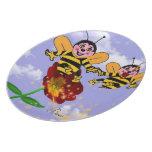 Placa, abejas platos de comidas