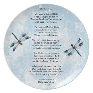 Placa abollada del poema del halo platos para fiestas