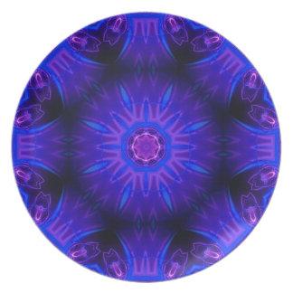Placa abstracta azul de la melamina platos