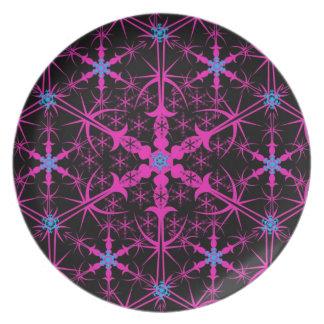 Placa abstracta de la melamina del diseño del copo plato