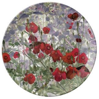 placa abstracta de la porcelana de las amapolas