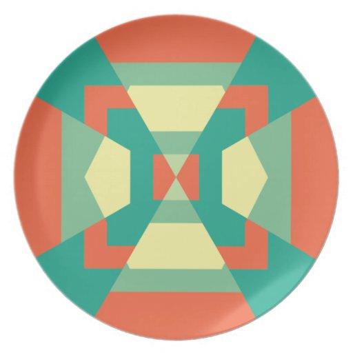 Placa abstracta del círculo plato de comida
