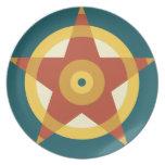 Placa abstracta del círculo platos de comidas
