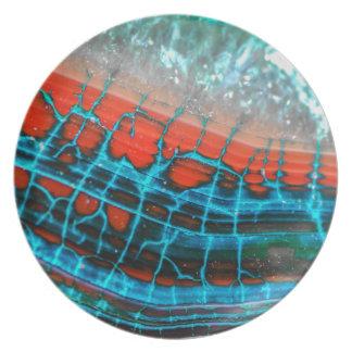 Placa abstracta del mar de la ágata de la vena del plato