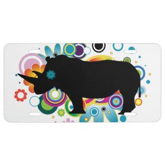 Placa abstracta del rinoceronte placa de matrícula