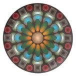 Placa abstracta floral linda del arte del vector platos de comidas